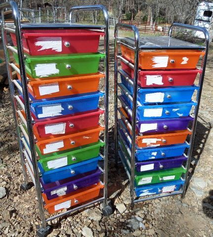 TWO BRIGHT COLORED STORAGE DRAWERS WITH OFFICE SUPPLIES ...