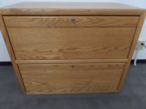 OAK TWO DRAWER LOCKING LATERAL FILE CABINET WITH KEY ...