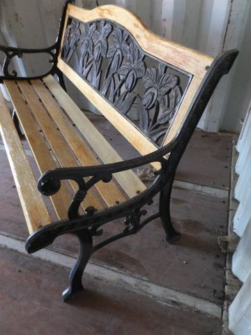Lot detail pretty floral wrought iron and wood garden bench - Wood and iron garden bench ...