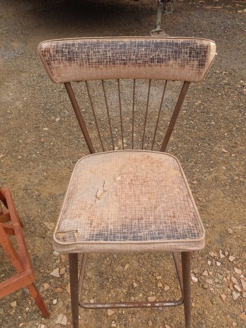 ... WOODEN STOOL, SMALL ROUND WOODEN TABLE/STOOL, AND VINTAGE METAL CHAIR  ...