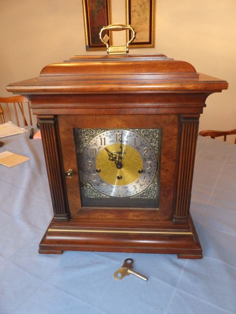 HOWARD MILLER THOMAS TOPIAN KEY WOUND TRIPLE CHIMING MANTEL CLOCK ...