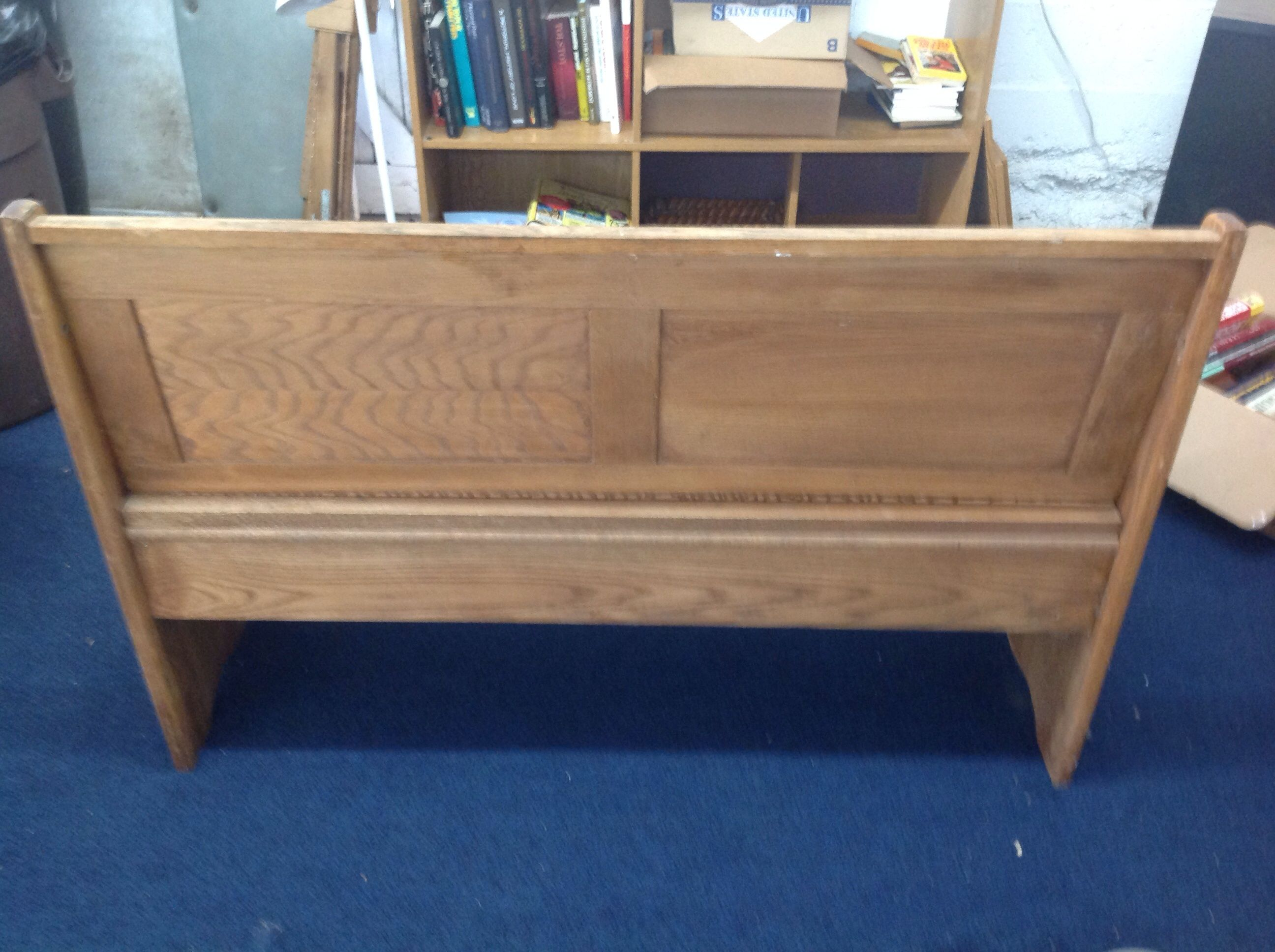 Lot Detail - VINTAGE WOODEN CHURCH BENCH WITH LIFT SEAT FOR STORAGE.