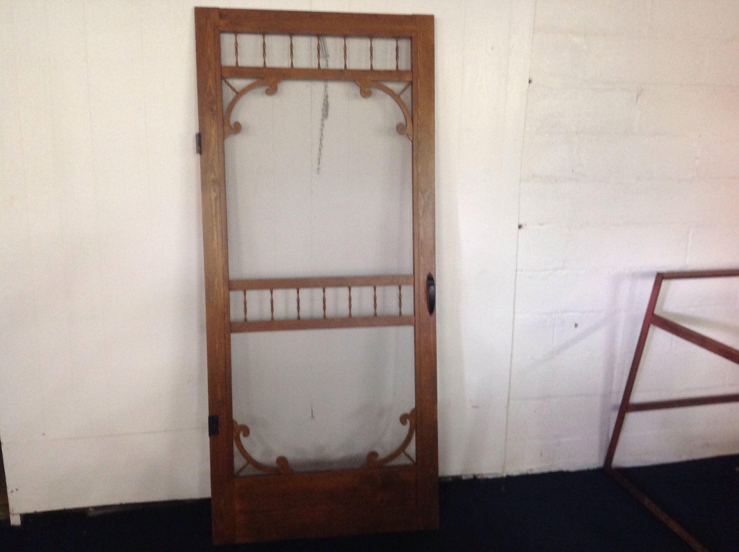 Lot detail wooden screen door with hardware for Wood screen doors