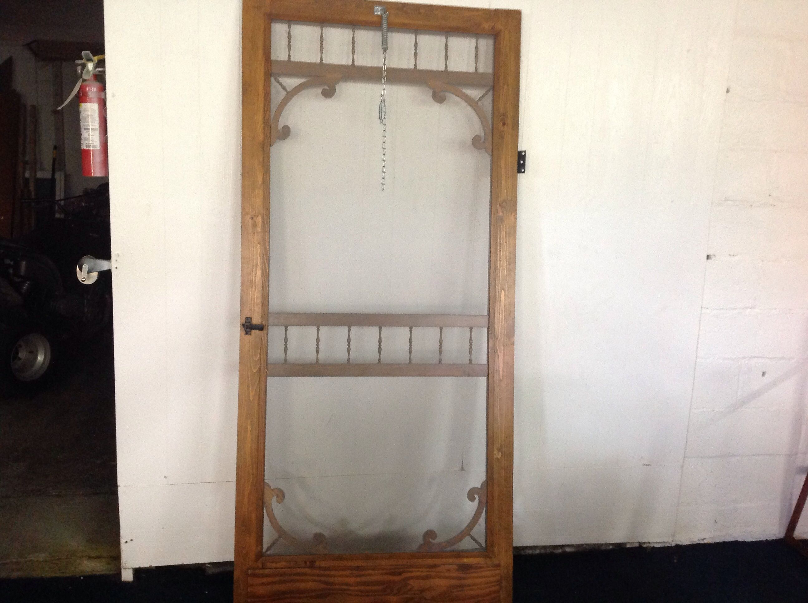 Marvelous photograph of Lot Detail WOODEN SCREEN DOOR WITH HARDWARE with #693F27 color and 2592x1936 pixels