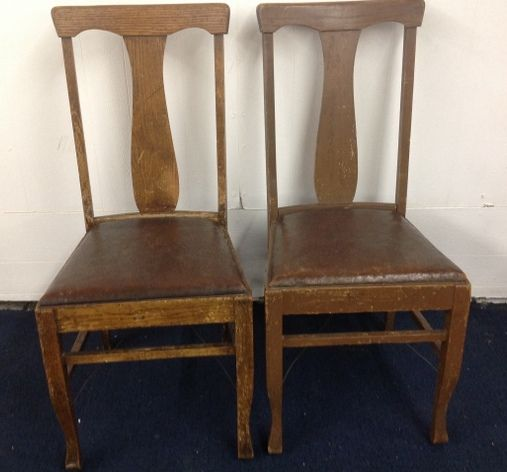 TWO ANTIQUE OAK SIDE CHAIRS WITH LEATHER SEATS ... - Lot Detail - TWO ANTIQUE OAK SIDE CHAIRS WITH LEATHER SEATS