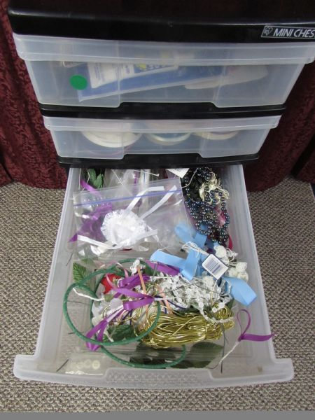 Lot detail plastic storage drawers with ribbons craft for Plastic craft storage drawers
