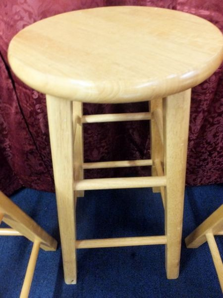 Lot detail three wooden stools plus a matching tall