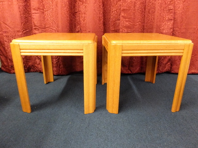 Lot detail matching coffee table two side tables oak for Coffee tables 24 high