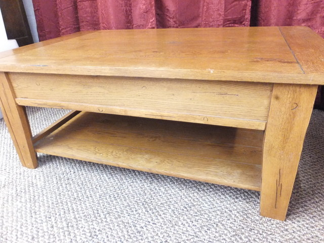 Lot Detail Large Rustic Ranch House Coffee Table Solid Wood