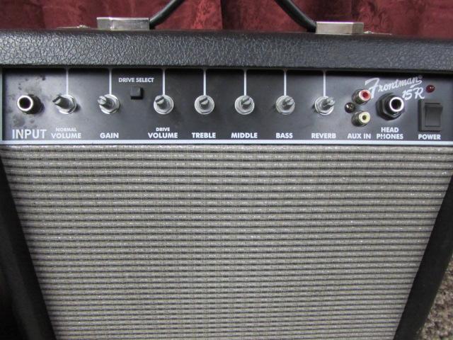 lot detail fender guitar amplifier yamaha amp microphone and tambourine. Black Bedroom Furniture Sets. Home Design Ideas