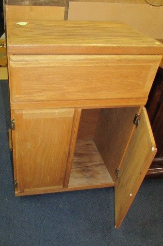 Lot Detail WOODEN ROLLING KITCHEN CABINET