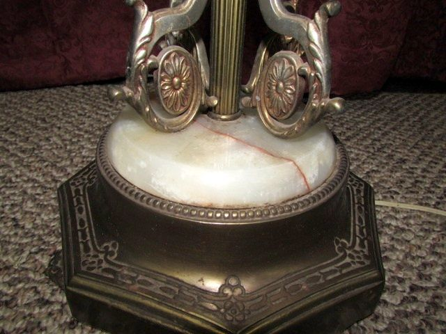 Lot Detail Antique Brass Floor Lamp With Marble