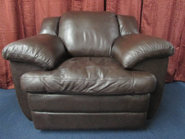 Exceptional OVERSTUFFED LEATHER CHAIR ...