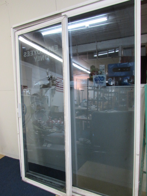 Lot detail sliding glass door white vinyl frame double pane for Double pane sliding glass door