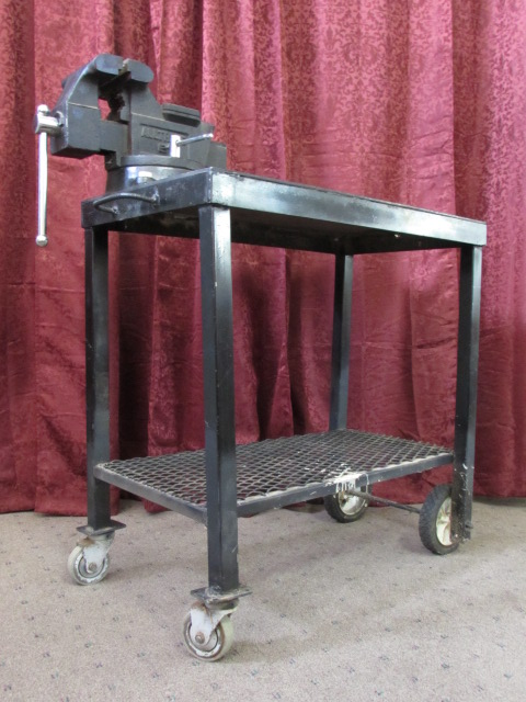 ... METAL WORK TABLE WITH VISE U0026 CASTOR WHEELS ...