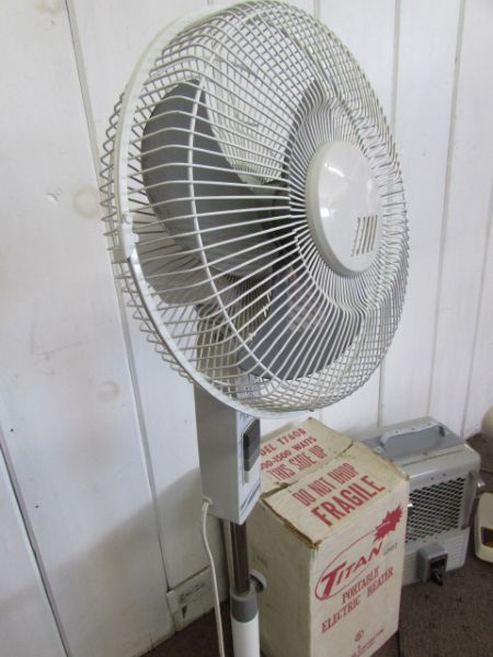 Floor And Desk Fans : Lot detail floor stand fan table top and a heater