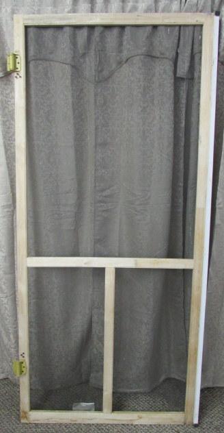 Lot detail vintage wood frame screen door for Screen door frame