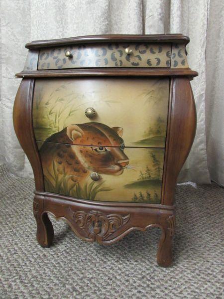 lot detail domestications original handpainted side table