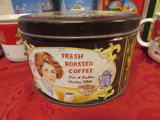 Lot Detail - HOLIDAY TINS, COLLECTIBLE COFFEE TIN & CAMPBELL SOUP MUGS