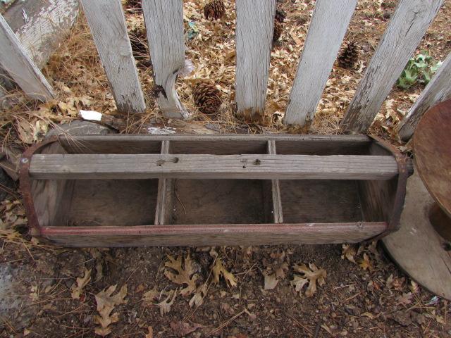Lot Detail Primitive Wood Tool Box Planter Box Plus Wooden Spools