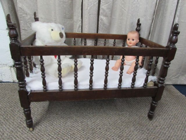 ANTIQUE C. 1880'S SOLID WOOD BABY CRIB, VINTAGE BABY DOLL & PLUSH BEAR ... - Lot Detail - ANTIQUE C. 1880'S SOLID WOOD BABY CRIB, VINTAGE BABY