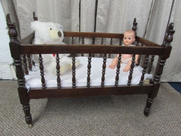 Lot Detail Antique C 1880 39 S Solid Wood Baby Crib Vintage Baby Doll Plush Bear