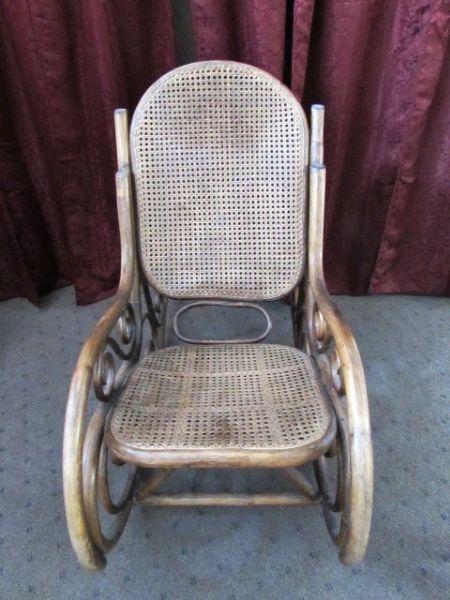 Lot detail classic comfy wood rattan rocking chair