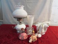 MILK GLASS HURRICANE LAMP, VASES, LEAD CRYSTAL CLOCK & MORE