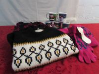 COZY WINTER SWEATERS, KNIT CAPS, GLOVES & COCOA MUGS