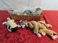 BASKET OF COLLECTABLE TY BEANIE BABIES & POCAHONTAS TOYS