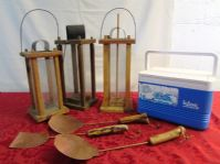 MOUNTAIN MAN CANDLE LANTERNS, HAND MADE COPPER UTENSILS & iCE CHEST