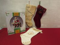 PORCELAIN MUSICAL SANTA & STOCKINGS