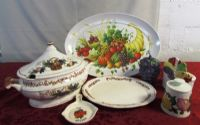 FESTIVE DISHWARE, SOUP TOUREEN, PLATTERS & CERAMIC ITEMS & SPOON REST!