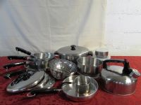 AWESOME  NEVER USED COPPER BOTTOM STAINLESS COOKWARE