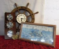 AHOY MATEYS! SHIPS WHEEL CLOCK, BAROMETER THERMOMETER HUMIDITY GAUGE & MORE!