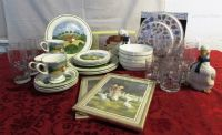 JUST DUCKY! COUNTRY COTTAGE DINNERWARE, PAPER TOWEL HOLDER, BURNER COVERS, FIGURINES & PICTURES