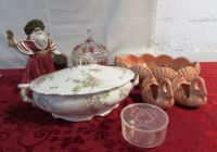 ELEGANT ANTIQUE FRENCH TUREEN, CUT GLASS CANDY DISH & MORE