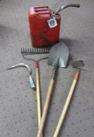 VINTAGE METAL JERRY CAN & TOOLS