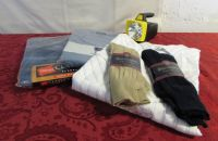 GOOD QUALITY NEVER WORN MENS PAJAMAS, SHIRT, DRESS SOCKS & A LANTERN FLASHLIGHT