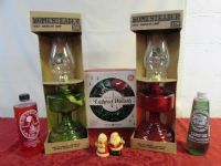 FESTIVE HURRICANE LAMPS, LAMP OIL VINTAGE  SALT & PEPPER SHAKERS & WREATH