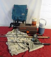 OUTDOOR FISHING ADVENTURE! POLES, TACKLE BOX, VEST & MORE