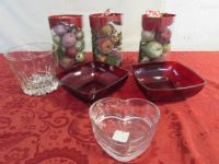 VINTAGE RUBY RED FRENCH ARCOROC BOWLS, CRYSTAL ICE BUCKET & BEADED GLASS FRUIT