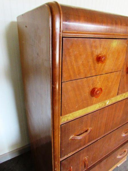 Lot Detail Antique Waterfall High Boy Dresser