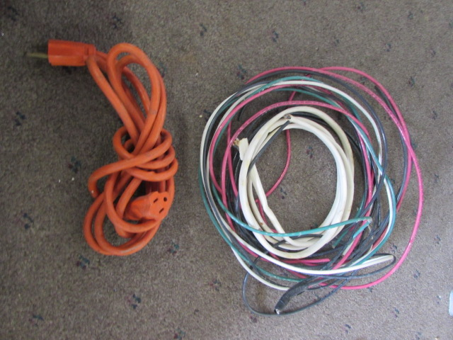 Lot Detail - BOX OF ELECTRICAL GOODIES. 12/2 ROMEX, PIPE WRENCH AND ...
