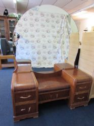 "ART DECO  WOOD ""WATERFALL"" VANITY WITH BENCH -  VERY HARD TO FIND PIECE"