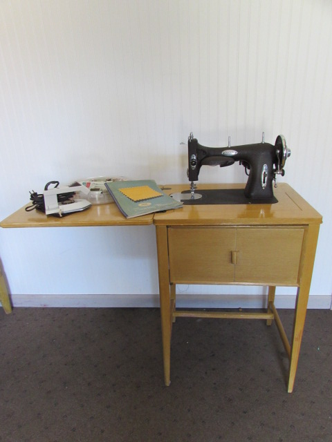 Lot Detail Vintage White Sewing Machine In Cabinet