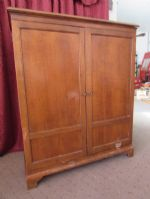 VINTAGE ALL WOOD BOOKCASE CABINET WITH SOLID WOOD DOORS