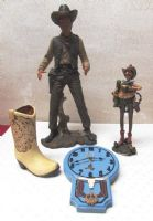 COWBOY FIGURINES WESTERN CLOCK AND COWBOY BOOT VASE