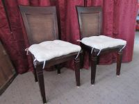 TWO ATTRACTIVE, STURDY WOOD SIDE CHAIRS WITH SEAT CUSHIONS