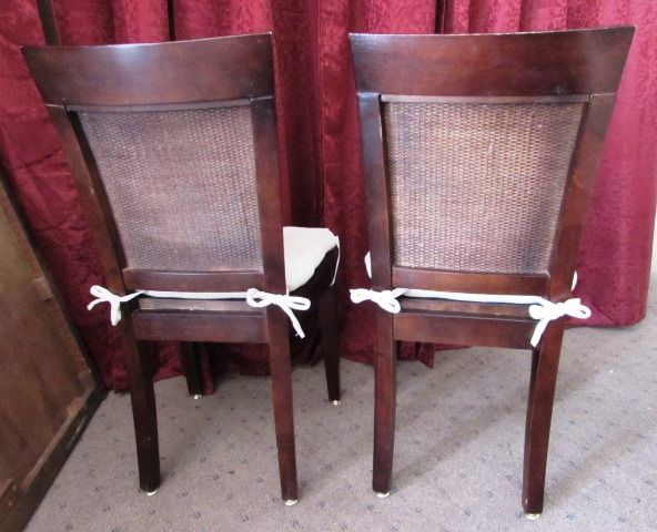 Lot detail two attractive sturdy wood side chairs with seat cushions - Sturdy dining room chairs ...